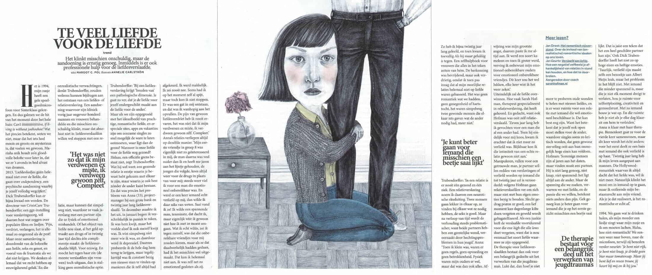 Volkskrant Magazine liefdesverslaving, interview Sarah Hofman
